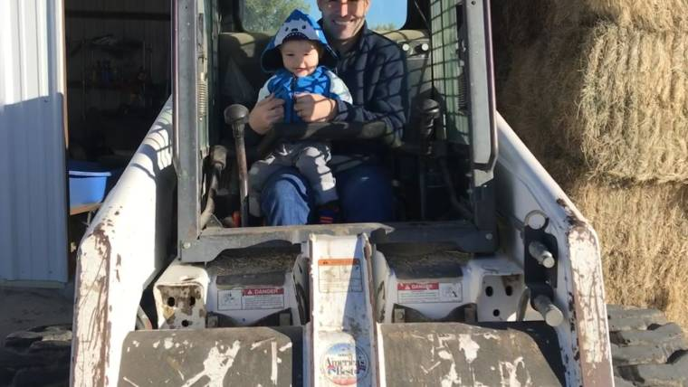 Daddy and Son Tractor Bonding Time